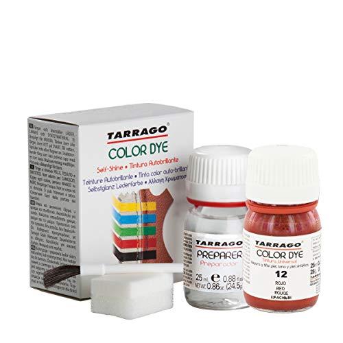 Tarrago | Self Shine Color Dye 25 ml Kit | Preparador para Cambiar el Color + Tinte Para Cuero y Lona de Secado Rápido Para Teñir Zapatos y Accesorios | Repara y Protege el Calzado (Rojo 12)