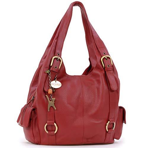 Catwalk Collection Handbags - Vera Pelle - Borsa a Spalla/Borse a Mano - Con Ciondolo a Forma di Gatto - Alex - ROSSO