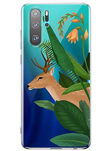 Oihxse Mode Transparent Silicone Case Compatible pour Huawei P20 Pro Coque, Ultra Mince Souple TPU Mignon Animal Série Protection de Housse Anti-Scrach Bumper Etui -Cerf