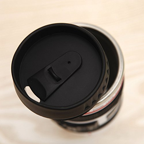 Coffee Mug – Camera Lens Travel Thermos – Stainless Steel Insulated Cup with Easy Clean Lid – 13.5oz – Black – Go with Premium Stainless Steel Spoon Bonus_uHome