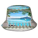 Sombrero de Pesca,Terraza de Arco en Forma de U con Vistas al mar con árboles en Flor,Senderismo para Hombres y Mujeres al Aire Libre Sombrero de Cubo Sombrero para el Sol