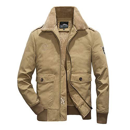 FWJ-clothes Winter Herren Trucker Jacke Mantel Plus Samtjacke Herrenmode lässig Fliegerjacke Jacke männlich,Khaki,2XL