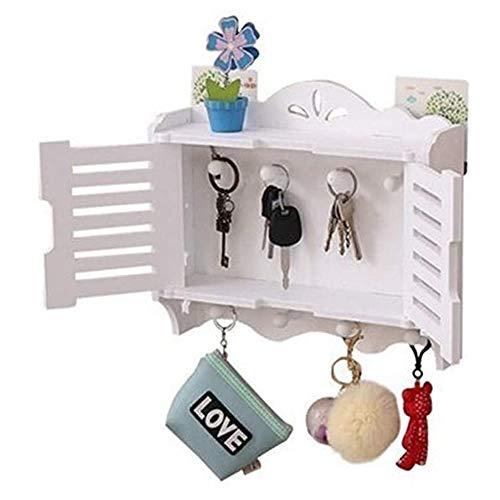 Caja de almacenamiento en rack de llaves montada en la pared, sala de estar sin perforaciones Decoración de baño Rack Caja de almacenamiento de llaves montada en la pared Caja de almacenamiento