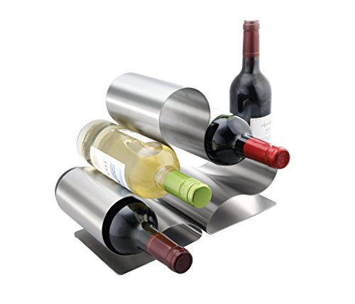 Archstone Nova Wine Rack - Stainless Steel Construction - Fits 6 Standard Size Wine Bottles on Tabletop - Heavy Duty Compact Modern Design - Countertop Display