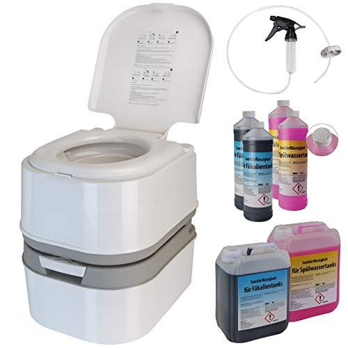 Montafox Campingtoilette 24 Liter - Optional erhältlich: Sanitärflüssigkeiten und Reinigungsspritze - WC + 2 x 2L
