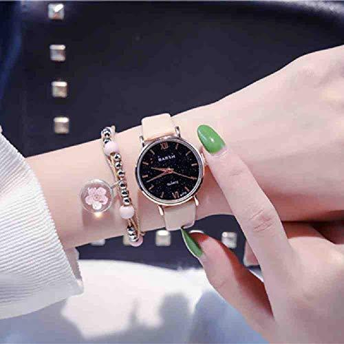 SWJM Exquisito Estilo Simple para Mujer Starry Sky Watches Reloj de Cuero de Cuarzo de Moda pequeña para Mujer Top Brand Elegant Girl Bracelet Watch