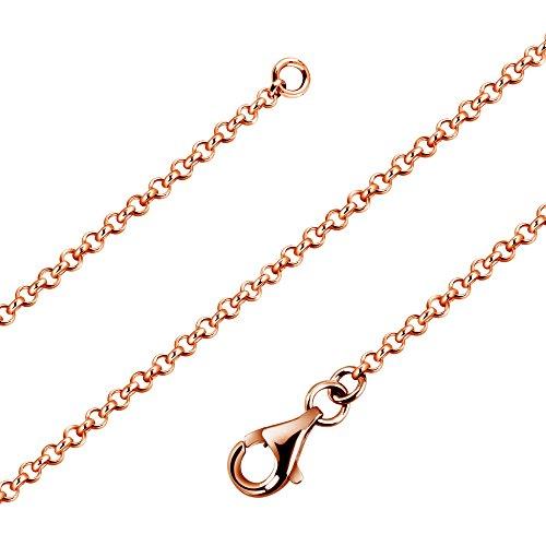 Avesano Erbskette Rose vergoldet in 925 Sterling Silber für Frauen, Damenkette Silberkette ohne Anhänger, Breite 1,7mm, Länge 42cm-90cm, 101011-460