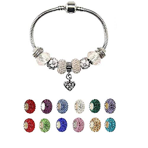 White Birch Fit Pandora Charm Love Bracelet Clear April Birthstone Gifts for Her 7.1 Inch Very Small and Small Popular Size for Women and Girls Jewelry