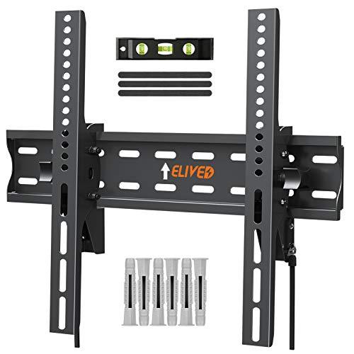 Elived TV Wandhalterung Neigarbar Fernseher Wandhalterung für die meisten 26-55 Zoll Flach & Curved LED, LCD, OLED, Plasma TVs bis zu 45kg, mit Max VESA 400x400mm, EV007