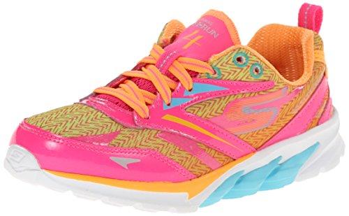 Skechers Kids 80653L Go Run 4 Running Shoe,Neon Pink/Multi,2 M US Little Kid