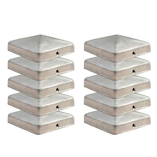 Gentle North Pfostenkappen für 9x9 cm Zaunpfosten (10 Stück) - Verzinkt - Abdeckung für Gartenzaun Holz - Pfostenkappe für Holzpfosten - Alternative zu Edelstahl - Kappe für 90x90 mm Pfosten