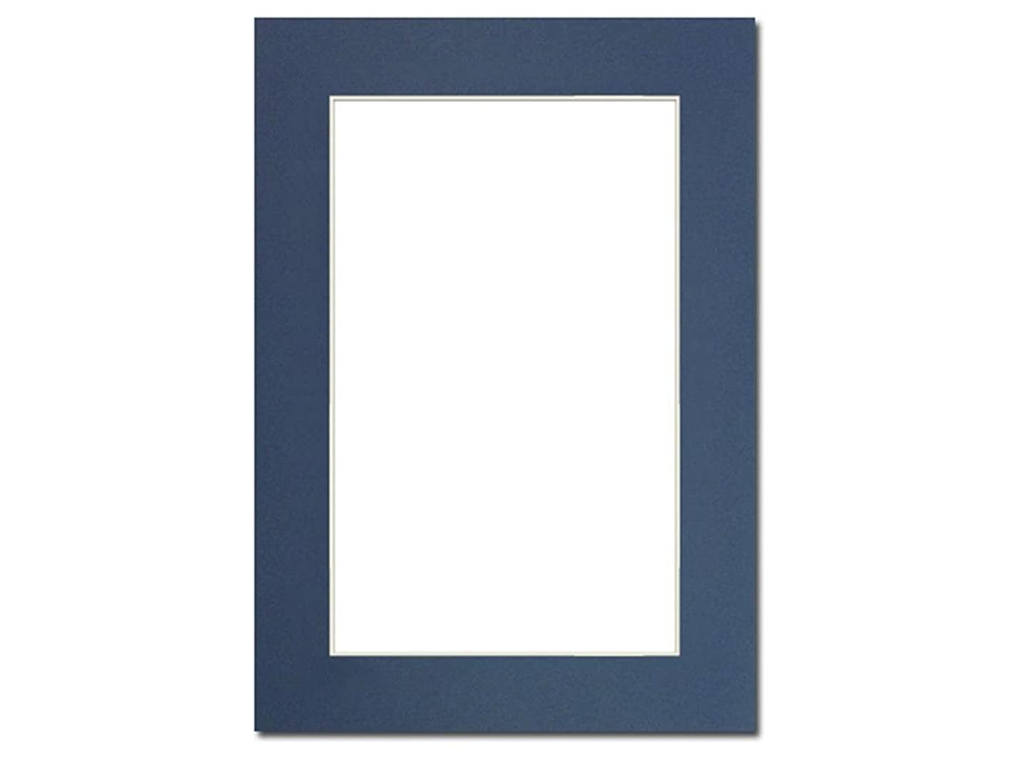 PA Framing, Photo Mat Board, 5 x 7 inches Frame for 4 x 6 inches Photo Art Size - Cream Core/Bay Blue