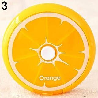 hamulekfae-化粧品綺麗7日間ピル収納ウィークリーフルーツラウンドボックス医学オーガナイザーコンテナケース - オレンジ