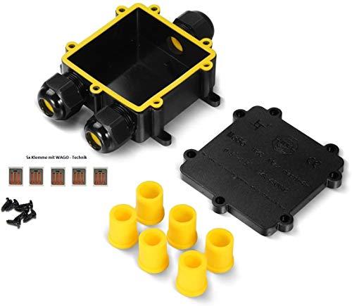 !! XXL-Verbindungsbox mit 3x M25 Kabeleinführung (extra gross), inkl. 5 Verbindungsklemmen, für Erdkabel bis 5 Adern (220-240V), Kabelverbinder, IP68, Kabelmuffe wasserdicht