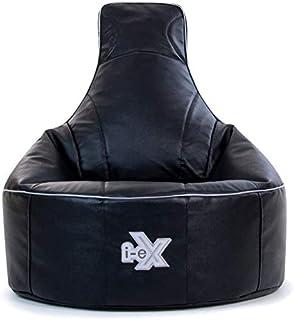 i-eX Puf para Videojuegos, Negro, 85cm x 73cm, Grande, Cuero sintético, Reclinable ergonómico para Videojuegos para niños y Adolescentes, Silla para Videojuegos