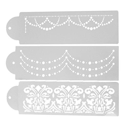 Whitelotous Plastic Cake Cookie Fondant Side Baking Stencil Wedding Decor Mold Tool (Type D)