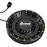 BONAI Cargador Pilas AA/AAA, con Pantalla LED, 16 Ranuras para baterías Recargables del Ni-MH Ni-CD(Cable USB Incluido)