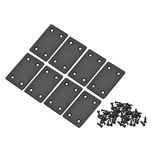 sourcing map Plano Recto Soporte Reparación Placa, 60 x 38 x 1,5mm Inoxidable Acero Unión Reparación Soporte Conector Negro para Muebles, Repisa, Gabinete, 8Uds ⭐