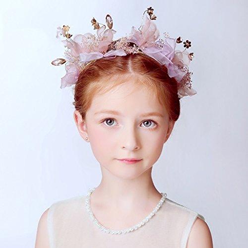 &Coiffe de corolle Fleur de fleur d'enfant, Bandeau Fleur Guirlandes Fête de mariée à la main à la main Fierté Bandeau Bracelet Bande de cheveux ( Couleur : Violet )