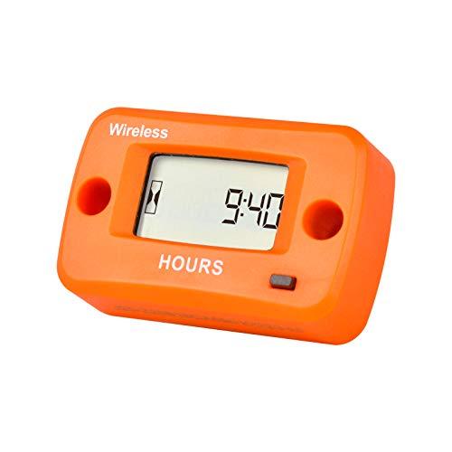 Yooreal cronógrafo inalámbrico a batería, tractor de césped, carrito de golf, motosierra, kart, trituradora de madera, separador de troncos, sensor de vibración ATV marino(Orange)