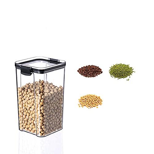LZYMLG Contenedores de almacenamiento de cereales y alimentos secos de 1300 ml3, herméticos para azúcar, harina, aperitivos, suministros para hornear, a prueba de fugas con tapas de bloqueo negras