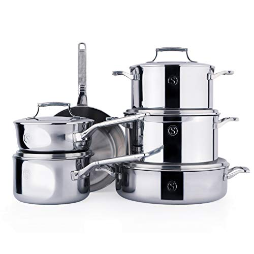 SAVEUR SELECTS 11-piece Tri-ply Stainless Steel Cookware Set, 6 Essential Pots and Pans, 5 Interchangeable Lids, Induction-ready, Dishwasher Safe, Voyage Series