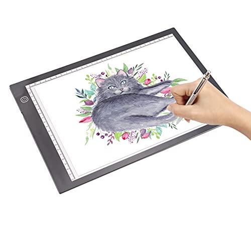 Dounan Light Pad,A4 LED Light Pad Tracer 3mm Tavolo da disegno ultrasottile Lavagna per appunti Oscuramento continuo Alimentato tramite USB
