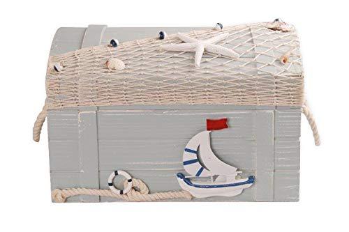MYFAVORITES Seemannstruhe aus Holz - im maritimen Look (30x20x18,5cm Holz)
