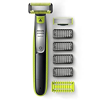 Philips Norelco OneBlade Face + Body Hybrid Electric Trimmer and Shaver QP263070 Black/Green/Silver