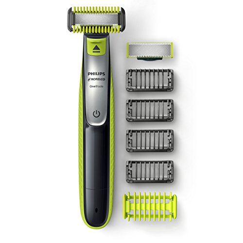 Philips Norelco OneBlade Face + Body, Hybrid Electric Trimmer and Shaver, QP2630/70, Black/Green/Silver