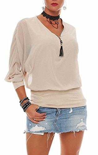 Malito Damen Bluse im Fledermaus Look | Tunika mit Zipper | Kurzarm Blusenshirt mit breitem Bund | Elegant - Shirt 6297 (beige)