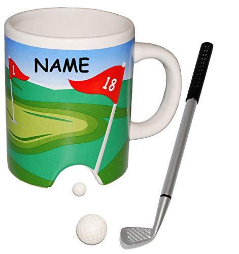 alles-meine.de GmbH 3-D Effekt _ Kaffeebecher / Henkeltasse -  Golf Spiel mit Schläger & Golfball  - incl. Name - aus Porzellan / Keramik - Bürogolf & Tischgolf - Trinktasse mi..