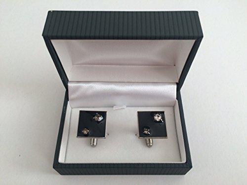 Gemelli per polso camicia uomo (prodotto italiano) modello 1403 quadrato fondo nero con strass (NO confezione)