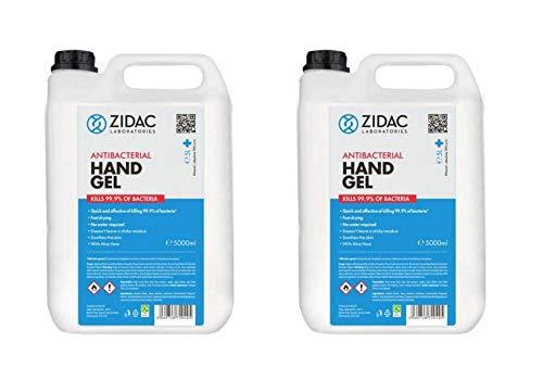 10L Zidac Hand Gel - Hospital Grade Hand Gel - 70% Ethanol - British Manufactured with Safety Certificates