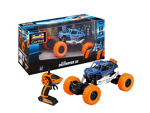 Revell Control 24594 RC Car Crawler Destroyer XS, GHz-Fernsteuerung, Frontbeleuchtung, 1:18, 23,5 cm ferngesteuertes Auto, blau