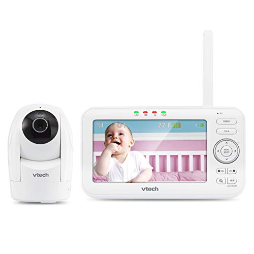 """VTech VM5262 5"""" Digital Video Baby Monitor with Pan & Tilt Camera and Full-Color and Automatic Night Vision, White (Renewed)"""