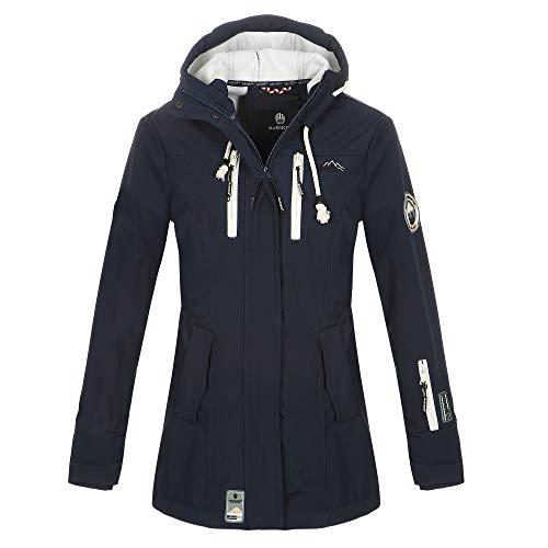 Marikoo Damen Softshell Jacke Winter Jacke Regenjacke Parka Kapuze ZMTZ (XXL, Blau)