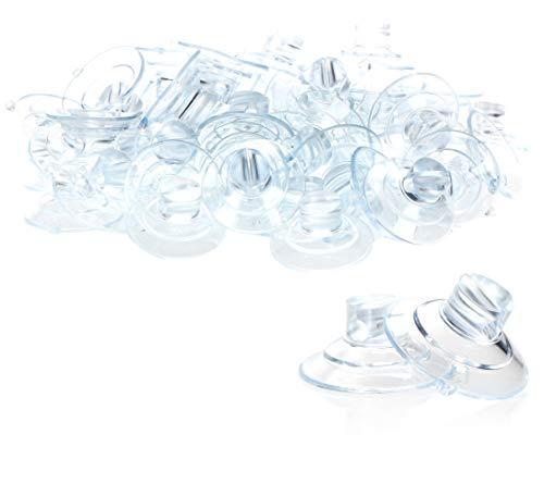 com-four® 60x Saugnapfhalter für Lichterketten - Saugnäpfe mit Schlitz in transparent - Halterung mit Saugnapf für Deko an Weihnachten, Ostern, Silvester