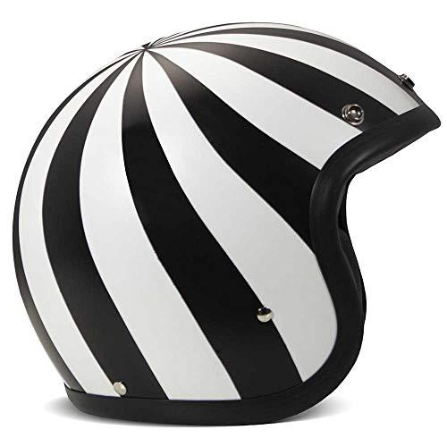 DMD Helm Vintage Lollipop schwarz weiß matt Open Face Jethelm Motorradhelm, XL