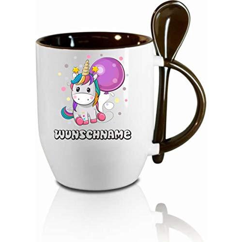 Crealuxe Tasse m. Löffel Einhorn Wunschname Löffeltasse, Kaffeetasse m. Motiv,Bürotasse, Bedruckte Tasse mit Sprüchen oder Bildern -