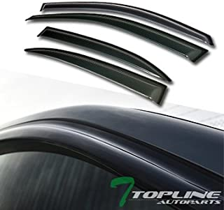 Topline Autopart Smoke Window Visors Deflector Vent Shade Guard 4 Pieces For 13-15 Chevy Malibu