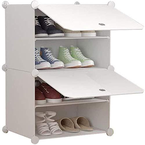 Lycoco Rack de Zapatos Pasillo de plástico Gabinete Almacenamiento Almacén Estanterías Modulares Múltiples Polvo A Prueba DIY Conjunto DIY Simple Modern White