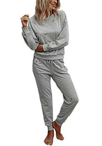 PRETTYGARDEN Women's Tie Dye Two Piece Pajamas Set Long Sleeve Sweatshirt with Long Pants Sleepwear with Pockets Solid-Grey