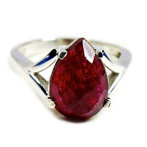 Gemsyogi Unisex Herren Damen - 925 Sterlingsilber Sterling-Silber 925 Birne Pink Rubin