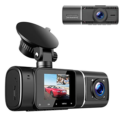 """Dual Dash Cam, TOGUARD FHD 1080P+1080P Front Cabin Inside Dual Dash Camera Driving Recorder for Cars Taxi w/IR Night Vision Parking Monitor, 1.5"""" Screen Display Compact Small 2 Way Car Security Camera"""