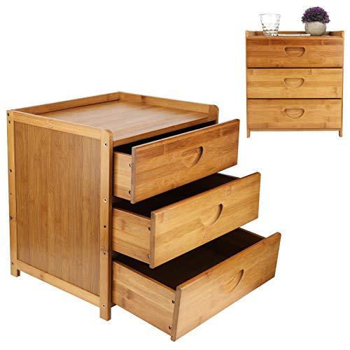 GOTOTOP Comodino in bambù con 3 cassetti, comodino laterale per soggiorno, comodino ausiliare per camera da letto, soggiorno, 36 x 31 x 40 cm