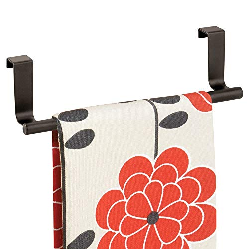 mDesign Decorative Metal Kitchen Over Cabinet Towel Bar - Hang on Inside or Outside of Doors,...