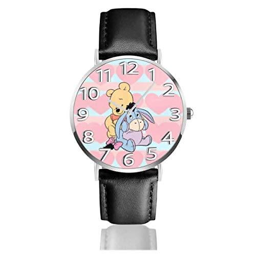 Reloj de Pulsera analógico Bear Fun Quartz, Reloj de Cuero Lindo de Dibujos Animados Unisex