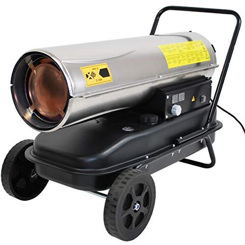 HELO Automatik Diesel Heizkanone 30 kW (Edelstahl) mit Fahrgestell auf Rädern, 560 m³/h Luftdurchsatz, Temperaturautomatik, digitale Anzeige, elektronische Zündung, 24 l Tank (inkl. Tankanzeige)