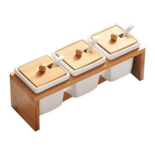Drie stukken van het koken dozen kruiden saus waterleidingen plein keramiek, het aroma samenstelling van houten kisten,de